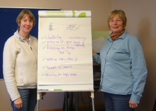 Two of our delegates with our to-do list for the final session (of which more another day)