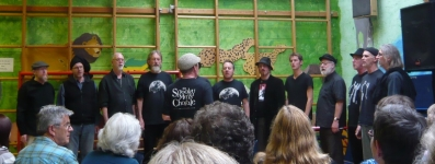 The Spooky Men's Chorale in performance at the end of the workshop